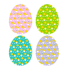 easter eggs hatching chick patterns vector image