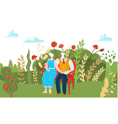 elderly character couple resting outdoor park vector image
