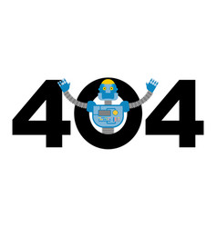 error 404 robot surprise page not found template vector image