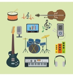 Flat icons music set vector image
