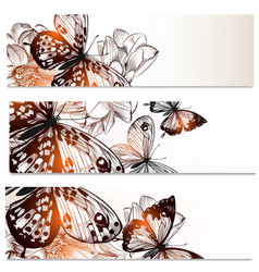floral business cards set with butterflies vector image