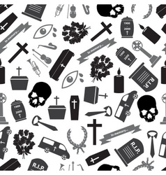 Funeral icons grayscale seamless pattern eps10 vector