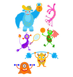 Funny fantasy monsters playing sport games vector