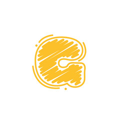 G letter logo in childish wax crayons scribbles vector