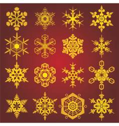 Gold snow-flakes vector