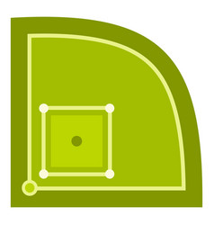 green baseball field icon isolated vector image