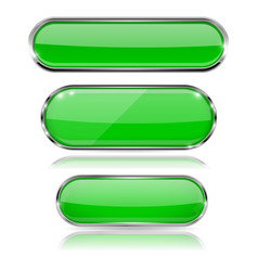 green glass 3d buttons with chrome frame oval vector image