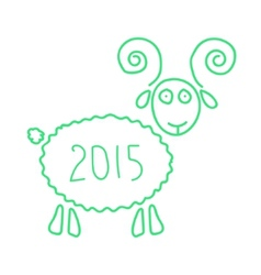 green wooden sheep like symbol of 2015 year vector image