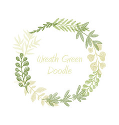 Greenery floral circle wreath vector