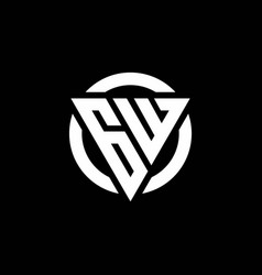 gw logo with triangle shape and circle rounded vector image