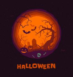 halloween greeting card pumpkin tombstone vector image