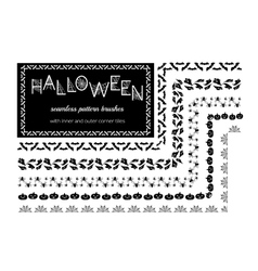 Halloween pattern brushes vector