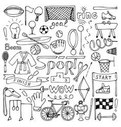 Hand drawn Sport equipment set vector image