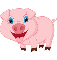 Happy pig cartoon vector