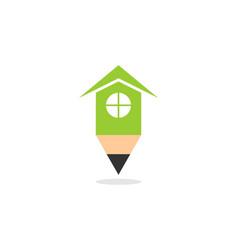 home pencil concept logo vector image
