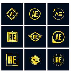 initial letter ae logo set design vector image