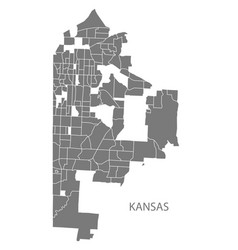 Kansas missouri city map with neighborhoods grey vector