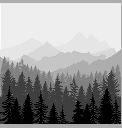 Landscape panorama of mountains and fores vector