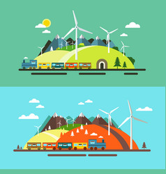landscape with train abstract flat design nature vector image