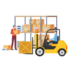 Logistics company workers with goods in boxes vector