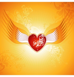 Lovely red heart on golden background with wings vector image