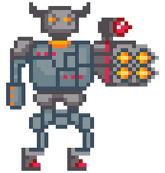 Mechanical man in iron armor robot with built-in vector