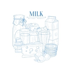 Milk And Dairy Products Hand Drawn Realistic vector image