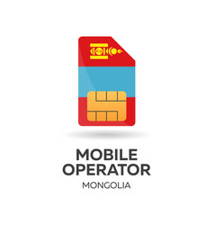Mongolia mobile operator sim card with flag vector