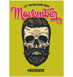 movember poster with bearded skull vector image