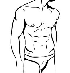 Muscular man in swimming trunks and hat vector