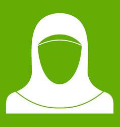 muslim women wearing hijab icon green vector image