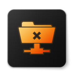 Orange glowing ftp cancel operation icon on white vector