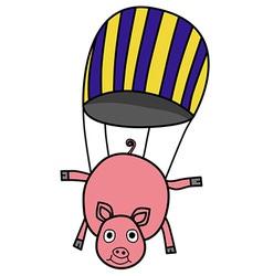 Parachuting pig vector image
