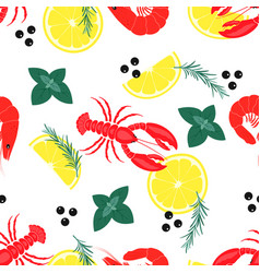 Pattern with seafood vector