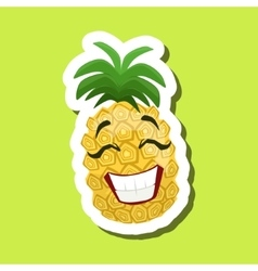 Pineapple Laughing Cute Emoji Sticker On Green vector