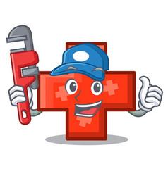 Plumber cross mascot cartoon style vector