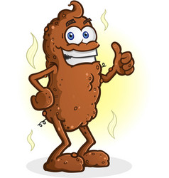 poop cartoon character standing thumbs up vector image