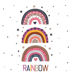 poster with three beautiful rainbows vector image