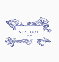 premium quality seafood menu abstract sign vector image