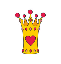 Princess crown with heart isolated on white vector