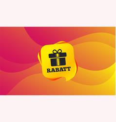 rabatt - discounts in german sign icon gift vector image