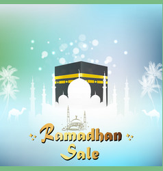 Ramadan kareem sale with mosque and kaaba vector