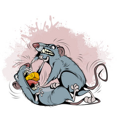 Rats fighting over prey vector