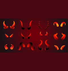 realistic red devil horn pair set in different vector image