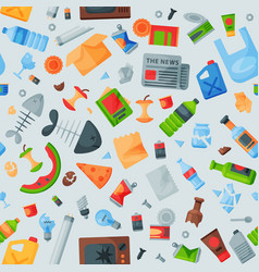 recycling garbage seamless pattern trash bags can vector image