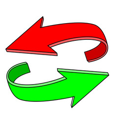 Red and green flat arrows circular motion vector