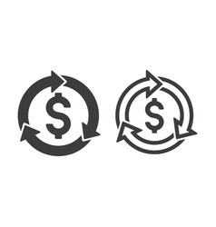 Revenue cycle with dollar symbol icons vector