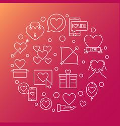 saint valentines day round outline vector image