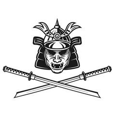 samurai mask and two crossed katana swords vector image