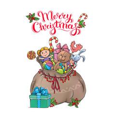 santa claus bag with gifts christmas card vector image